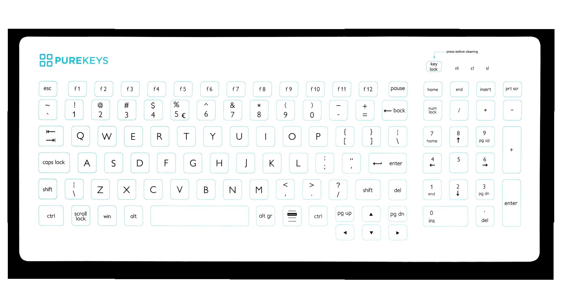 Purekeys Compact FA Medical Keyboard