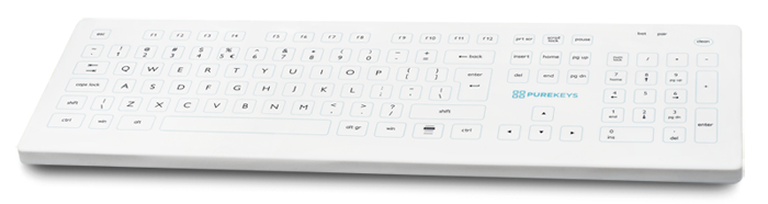 Purekeys Medical Keyboard Full Size Angle
